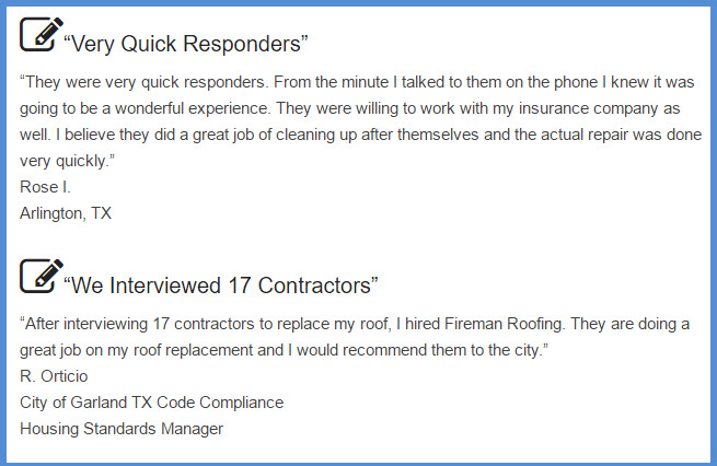reviews for Fireman Roofing